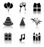 Set of black icons holidays Stock Image