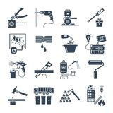Set of black icons home appliances, electric. Technology Stock Photos