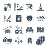 Set of black icons household appliances, technology. Set of black icons household appliances, equipment, technology Stock Image