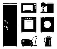 Set of black icons of household appliances. Stock Photography