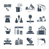Set of black icons industrial production making process, factory Royalty Free Stock Images