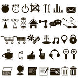 Set of black icons about the Internet. On white background Royalty Free Stock Images