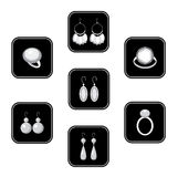 Set of black icons with jewelry Stock Photo