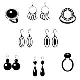 Set of black icons with jewelry Royalty Free Stock Photography