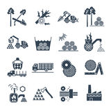 Set of black icons logging and forestry production. Process Royalty Free Stock Photography