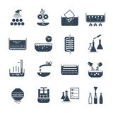 Set of black icons manufacture of beverages production Royalty Free Stock Photo