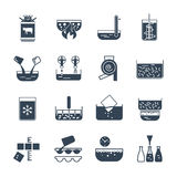 Set of black icons manufacture of dairy products production Stock Photo