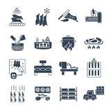 Set of black icons manufacture of meat products production stock illustration