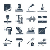 Set of black icons manufacture of products of wood production. Process Royalty Free Stock Photo