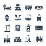 Set of black icons manufacture of wine production Stock Photography