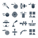 Set of black icons manufacture of wood production process Royalty Free Stock Photo