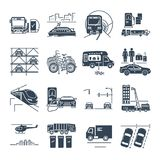 Set of black icons municipal transport, public utility. Set of black icons municipal city transport, public utility Stock Photos