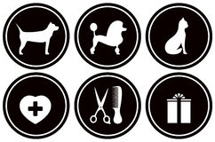 Set black icons for pet objects vector illustration