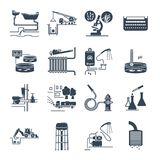 Set of black icons plumbing and sewerage repair, service. Equipment Stock Images