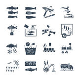 Set of black icons processing of fish Stock Photography