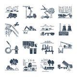 Set of black icons public utility, construction, installation. Operation, supply, maintenance Stock Photography