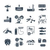 Set of black icons restaurant, cafe, kitchen production process. Set of black icons restaurant, cafe, kitchen, bar production process Stock Photo