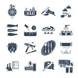 Set of black icons restaurant, cafe, kitchen production. Process stock illustration