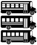Set of black icons school buses. Set of black icons school buses on black backgrounds. Vector illustration Royalty Free Stock Photography