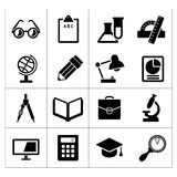 Set black icons of school and education. Isolated on white royalty free illustration