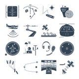 Set of black icons sea and air navigation, equipment, devices. Set of black icons sea and air navigation, piloting, equipment, devices Stock Photos