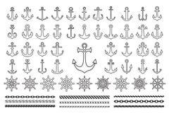 Set of black icons of sea theme stock image