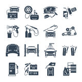 Set of black icons servicing, maintenance, repair car and aut Stock Images