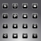 Set of black icons with silver outline. Collection of universal icons for apps and web - black glossy design with silver metallic outline Stock Image