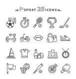 Set of Black Icons Sport Equipment on White Royalty Free Stock Images