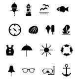 Set of black  icons for summer sea travel. Eps10 Stock Photo