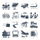 Set of black icons travel, tourism, transport, bus. Ferry Royalty Free Stock Photos