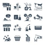 Set of black icons waste, garbage, refuse, sewage, sewerage. Recycling Royalty Free Stock Photography
