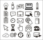 Set of black icons on white background Stock Image