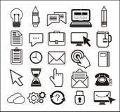 Set of black icons on white background Stock Image