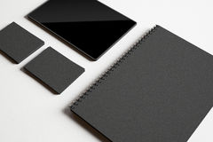Set of black identity elements and tablet Stock Image