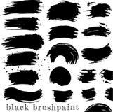 Set of black ink brush stains and splatters vector illustration