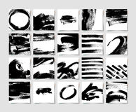 Set of 20 black ink brushes grunge square pattern, hand drawing Stock Photography