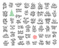 Set of 50 black ink christmas and happy new year celebration. Holidays hand lettering quotes to greeting card, banner, poster, calligraphy vector illustration Royalty Free Stock Images