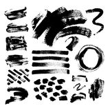 Set of 42 black ink hand drawing brushes collection isolated on Royalty Free Stock Photography