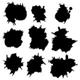 Set of Black ink vector stains Royalty Free Stock Photos
