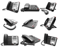 Set of Black IP office phone isolated Royalty Free Stock Image