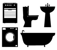 Set of black isolated contour silhouettes of household appliances, bathroom furniture Stock Images