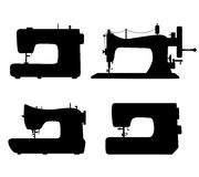 Set of black isolated contour silhouettes of sewin vector illustration