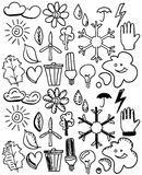 Set of black isolated environmental doodles Stock Photography
