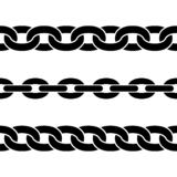 Set of black isolated silhouettes of chains on white background. Seamless pattern of chain. Decorative border. / vector illustration