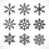 Set snowflake line icons royalty free illustration
