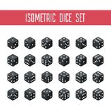 Set of black isometric dice. 24 isometric dice. Twenty-four variants black game cubes isolated on white background. All possible turns authentic collection Stock Photos