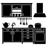Set of black kitchen icons,utensils,  Royalty Free Stock Photos