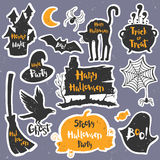 Set of black labels, badges and lettering for a happy Halloween. Stock Images