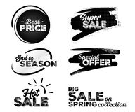 Set of Black Labels with Halftone Patterns. Collection of Hand Drawn Lettering with Fonts Combination. Best Price, Super Sale, End of Season, Special Offer Royalty Free Stock Image
